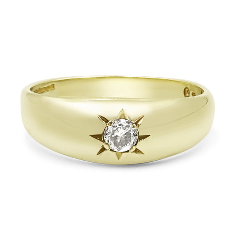 9ct Gold Gypsy Old Cut Diamond Ring