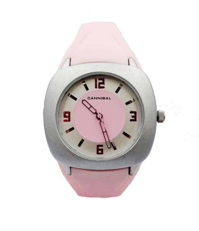 Girls Pink Cannibal CL140 Quartz Analog Silicone Strap Silver Dial Watch 25.5mm 6.7inch