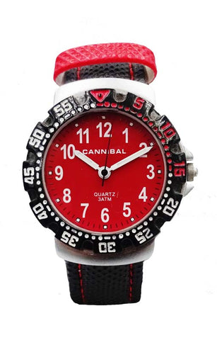 Boys Cannibal CJ091 Black Leather Strap With Red Stitching Red Dial Watch 6inch 22.8mm