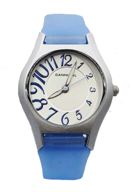 Girls Cannibal CL141 Blue Silicone Strap Fancy Silver Dial Kids Watch 6.5inch 22.6mm