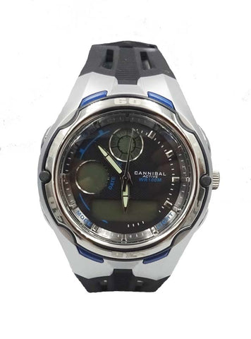 Men's Cannibal CD129.05 Digital 3 Hand Rubber Strap Watch 7.4inch 30mm