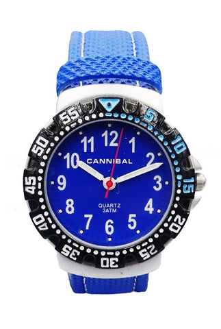 Boys Cannibal CJ091 Blue Leather Strap Blue Dial Kids Watch 6inch 22mm