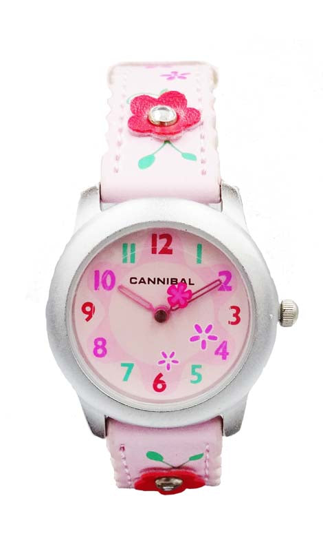 Girls Cannibal CK114 Pink Flower Leather Strap Pink Dial Kids Watch 6inch 20mm - Richard Miles Jewellers