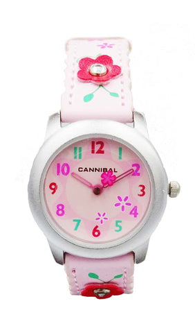 Girls Cannibal CK114 Pink Flower Leather Strap Pink Dial Kids Watch 6inch 20mm