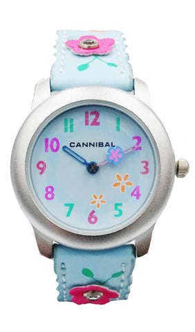 Girls Cannibal CK114 Blue Flower Leather Strap Blue Dial Kids Watch 6inch 20mm