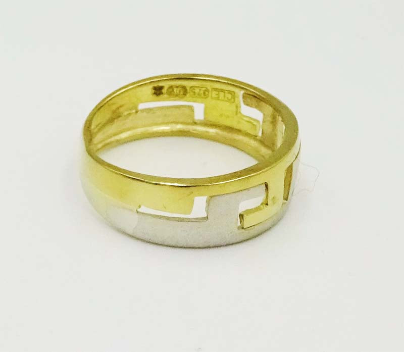 9ct Yellow White Gold Zig Zag Design Band Shiny & Matt Intertwined Finishes Size K 2g - Richard Miles Jewellers