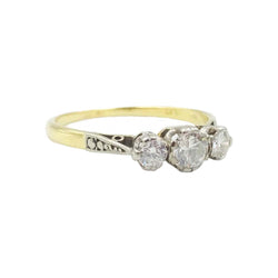 18ct Gold Three Stone Vintage Diamond 0.50ct Ring
