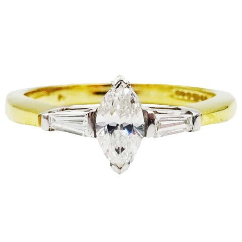 18ct Yellow Gold Marquise Tapered 0.50ct Colour G Clarity SI1 Diamond Set Shoulder Engagement Ring Size M 3.7g