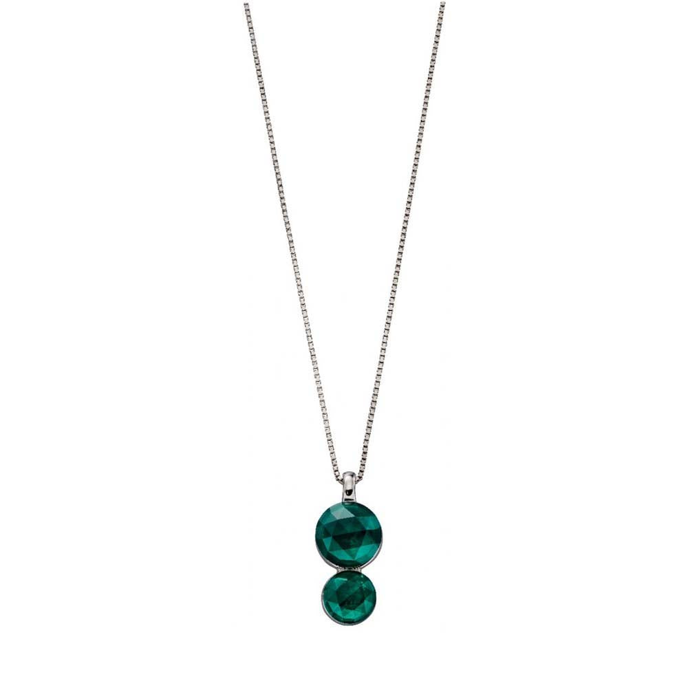 Fiorelli Silver Rose Cut Green Nano Crystal Necklace P4855G