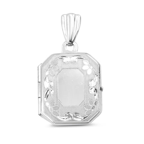 9ct White Gold Locket With Flower Design