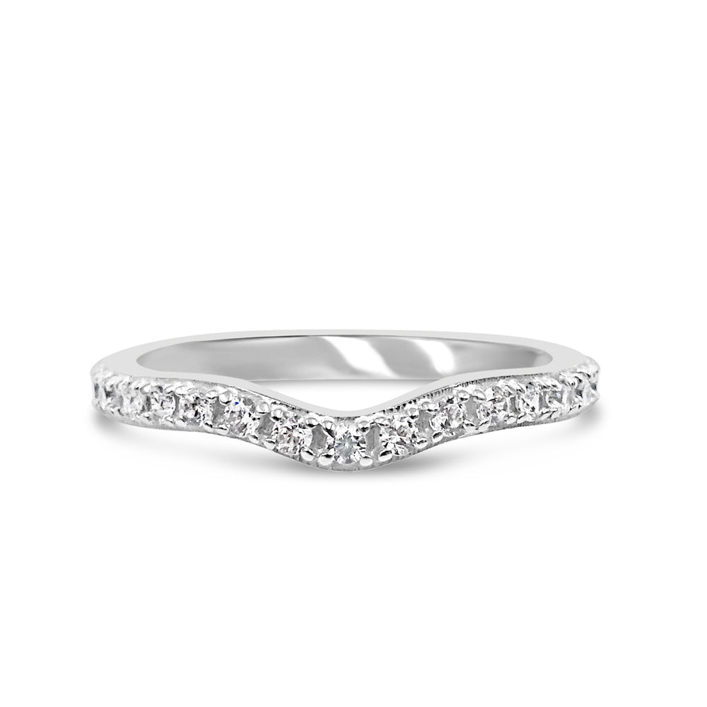 18ct White Gold 750 UK Hall Marked CZ Half Eternity Wish Bone Band Size N 2.25mm - Richard Miles Jewellers