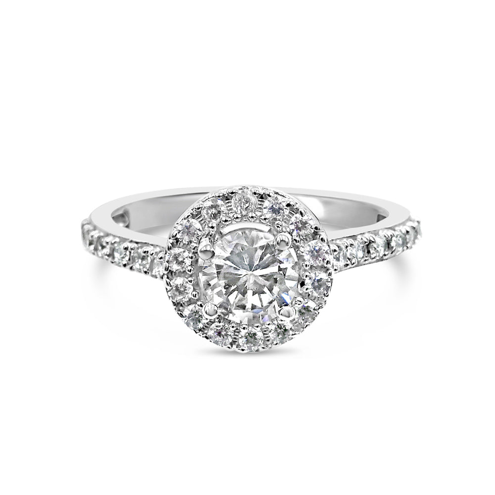 18ct White Gold Cubic Zirconia Quality Halo Ladies Ring Size N 3.4g - Richard Miles Jewellers