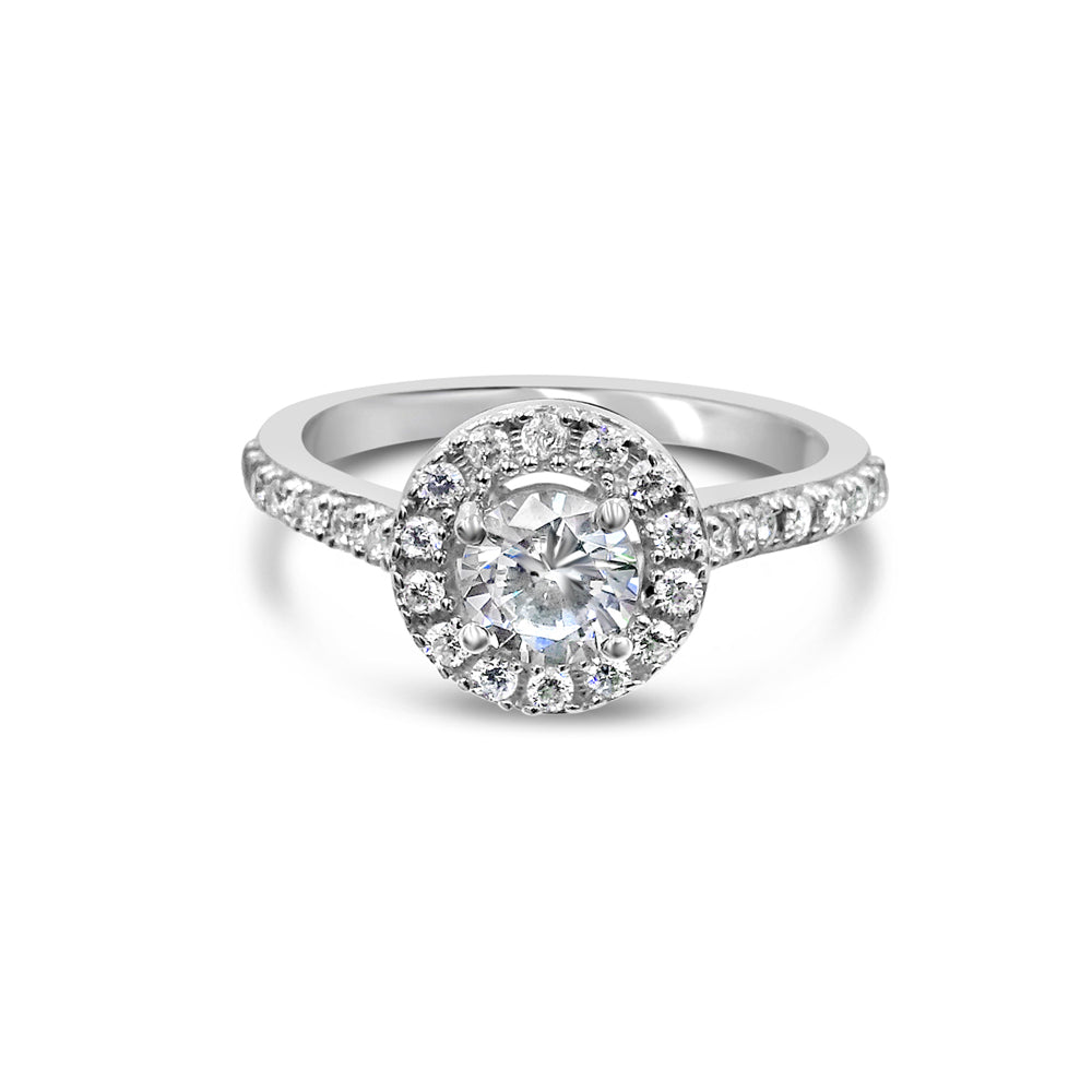 18ct White Gold 750 UK Hall Marked CZ Halo Two Shoulder Ladies Ring Size N 2.8g - Richard Miles Jewellers