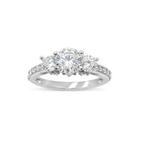18ct White Gold Cubic Zirconia 3 Stone Centre and Shoulders Size N 1/2 3.6g - Richard Miles Jewellers
