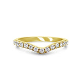 18ct Yellow Gold 750 UK Hall Marked CZ Half Eternity Wish Bone Band Size N 2.25mm - Richard Miles Jewellers