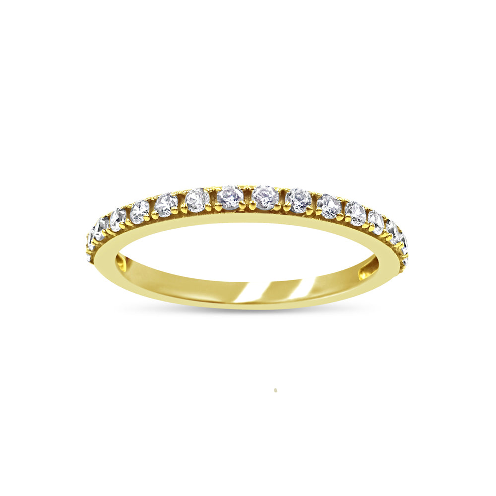 18ct Yellow Gold 750 UK Hall Marked CZ Half Eternity Ladies Ring Size N 1/2 2mm - Richard Miles Jewellers