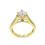 18ct Yellow Gold 750 UK Hall Marked CZ Engagement Ring Shoulder Detailing Size O - Richard Miles Jewellers