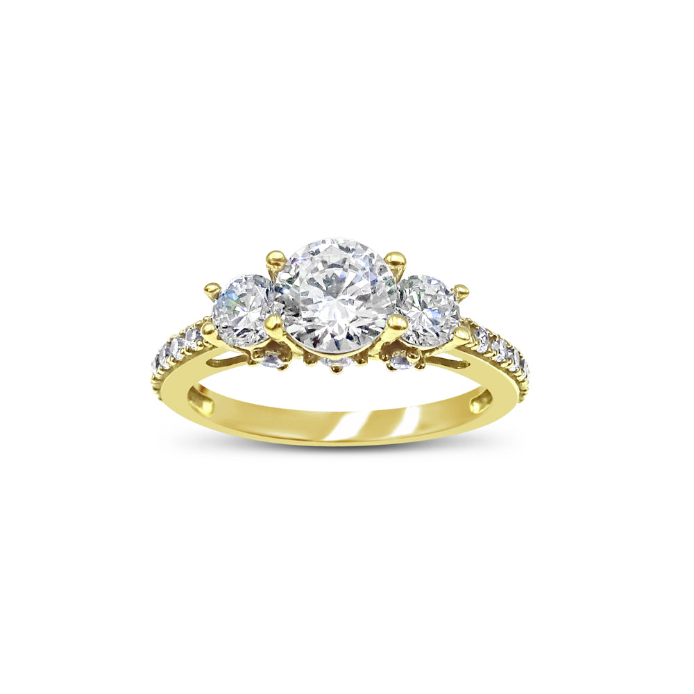 18ct Yellow Gold Cubic Zirconia 3 Stone Centre and Sparkly Shoulders Size O 3.6g - Richard Miles Jewellers