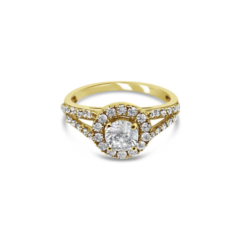 18ct Yellow Gold 750 UK Hall Marked CZ Halo Two Shoulder Ladies Ring Size N 3.4g - Richard Miles Jewellers