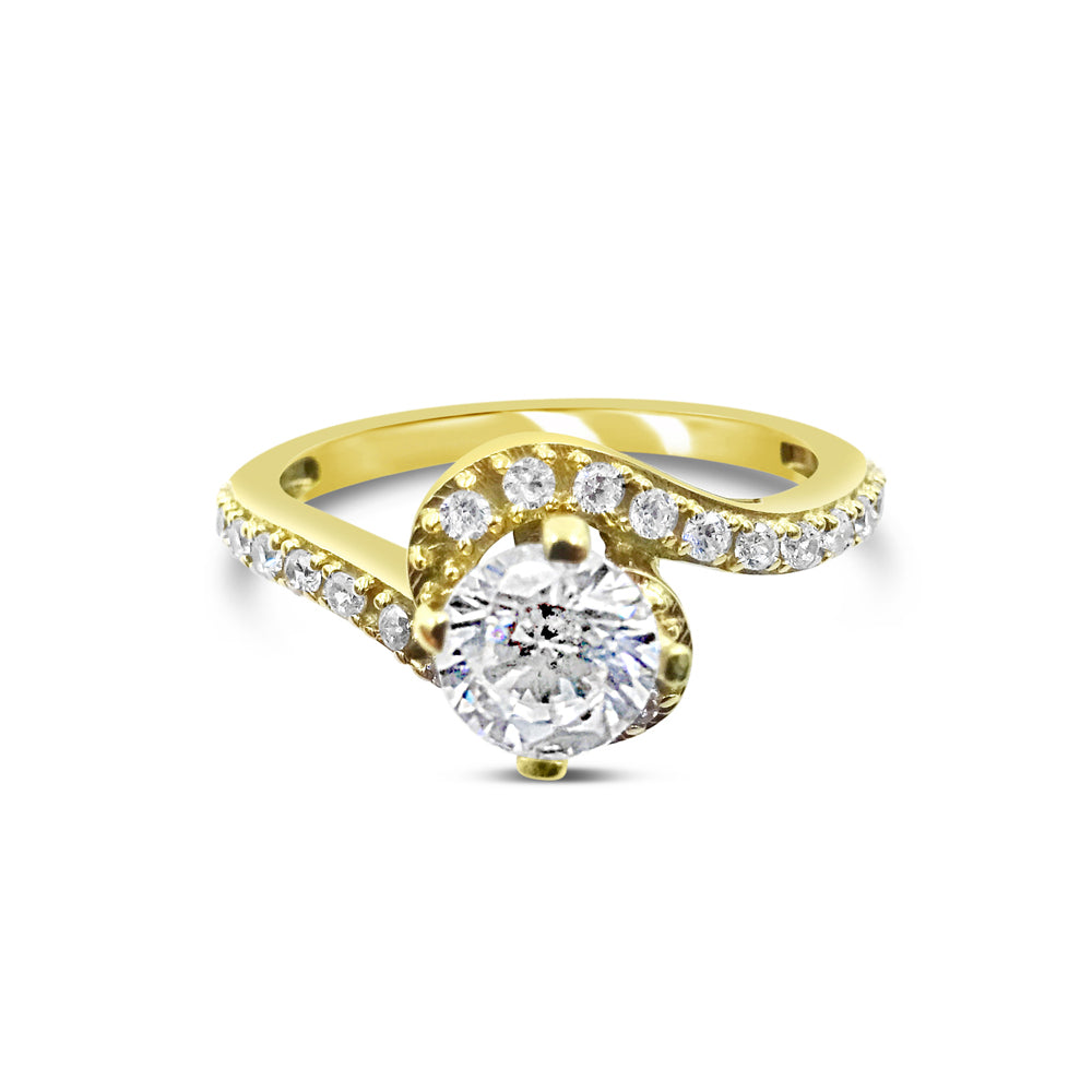 18ct Yellow Gold 750 Hall Marked CZ Swirl Engagement Ring Size N 4.2g - Richard Miles Jewellers