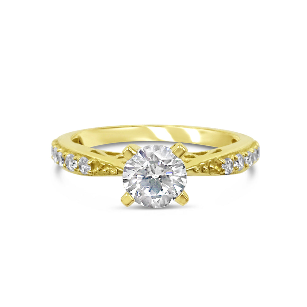 18ct Yellow Gold Claw Set Cubic Zirconia Sparkly Engagement Ring Size O 2.8g - Richard Miles Jewellers