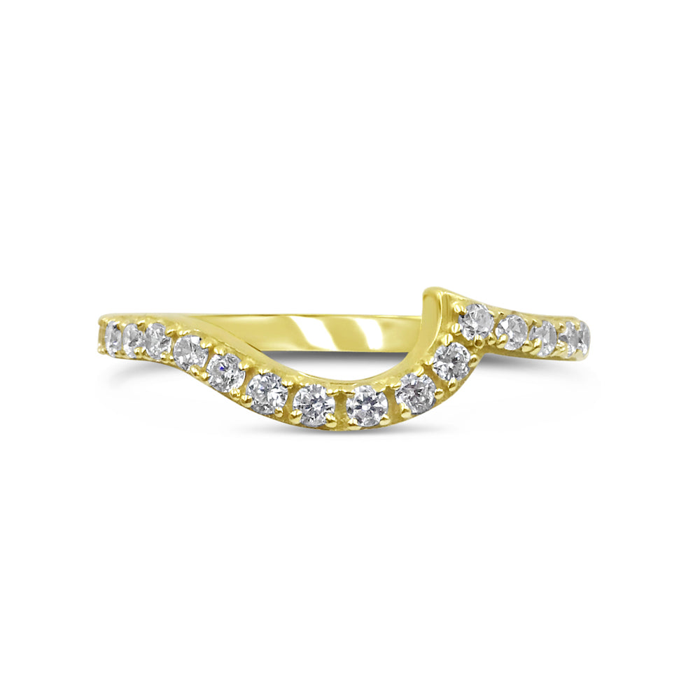 18ct Yellow Gold 750 UK Hall Marked Half Eternity Shaped Ladies Band Size N 2mm 2.2g - Richard Miles Jewellers