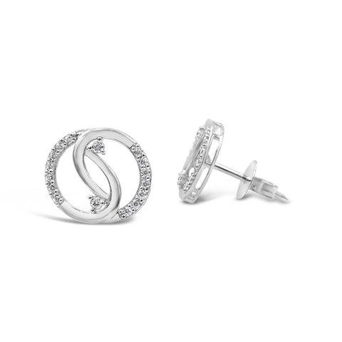 18ct White Gold UK Hall Marked Intertwined CZ Circle Ladies Stud Earrings 12mm - Richard Miles Jewellers