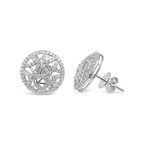 18ct White Gold 750 UK Hall Marked Overlapping Abstract CZ Stud Earrings 13.9mm - Richard Miles Jewellers