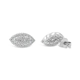 18ct White Gold Marquise Cubic Zirconia Cluster Ladies Stud Earrings - Richard Miles Jewellers