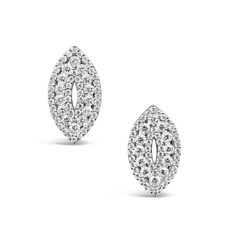 18ct White Gold Marquise Cubic Zirconia Cluster Ladies Stud Earrings 17.35mm - Richard Miles Jewellers