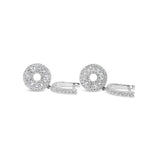 18ct White Gold Double Circle Cubic Zirconia Cluster Drop Earrings - Richard Miles Jewellers