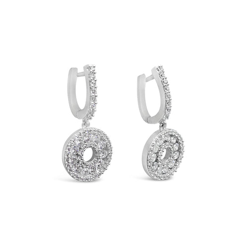 18ct White Gold Double Circle Claw Set Cubic Zirconia Cluster Drop Earrings 24.7mm
