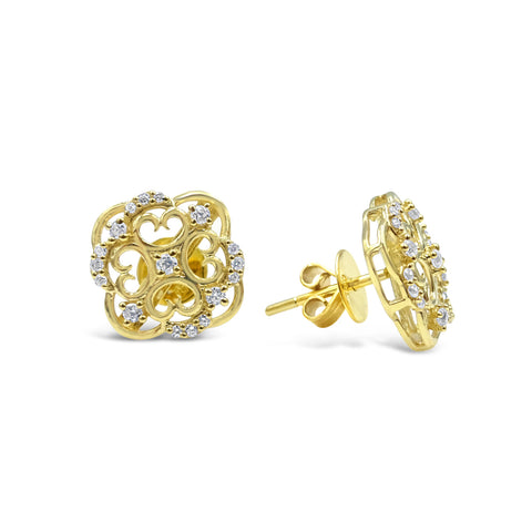 18ct Yellow Gold 750 UK Hall Marked Cubic Zirconia Swirl Ladies Stud Earrings 12mm - Richard Miles Jewellers