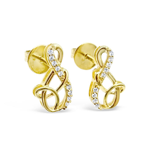 18ct Yellow Gold 750 UK Hall Marked CZ Music Note Stud Ladies Earrings 13mm - Richard Miles Jewellers