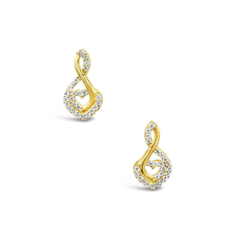 18ct Yellow Gold CZ Music Note With Heart Addition Ladies Stud Earrings 14mm - Richard Miles Jewellers