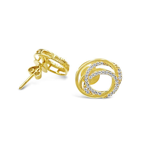 18ct Yellow Gold 750 UK Hall Marked CZ Intertwined Circle Stud Earrings 14.14mm - Richard Miles Jewellers