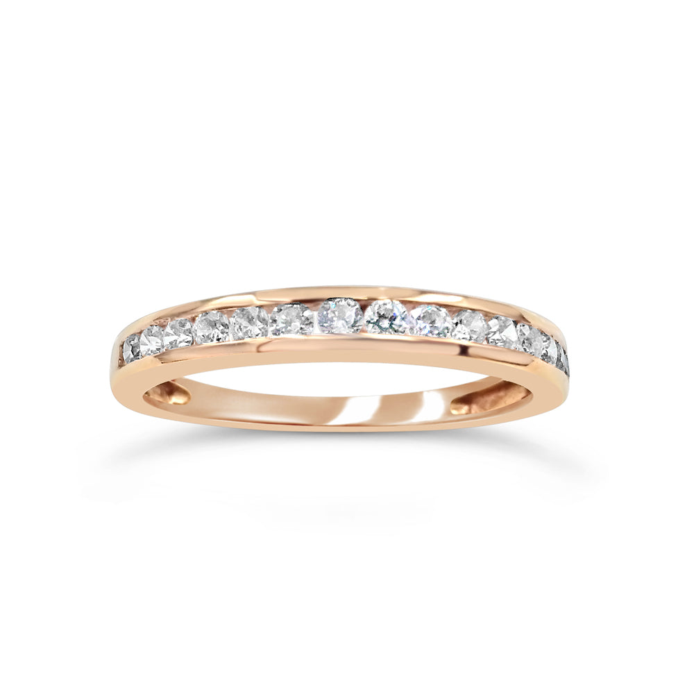 18ct Rose Gold Channel Set Cubic Zirconia Half Eternity Ring Size N 3mm 2g - Richard Miles Jewellers