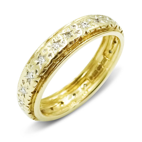 9ct Yellow Gold Full Eternity Diamond Ring Size O 1/2