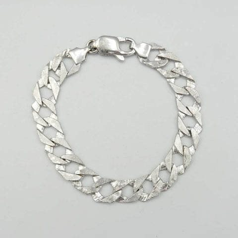 9ct White Gold Childrens Textured Curb Bracelet
