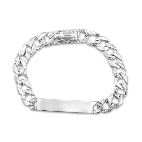 9ct White Gold Childrens Textured Curb ID Bracelet