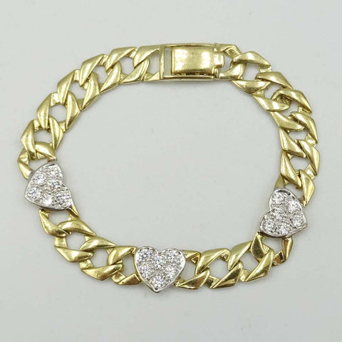 9ct Yellow Gold Cubic Zirconia Childrens Heart Curb Bracelet