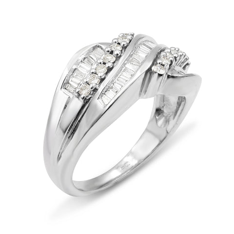 9ct White Gold Diamond Cluster Ladies Ring