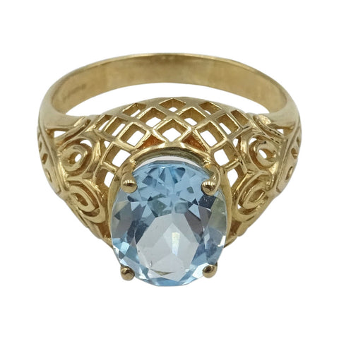 9ct Gold Ladies Ring Set With Light Blue Oval Topaz 11mm & Floral Pattern Size Q - Richard Miles Jewellers
