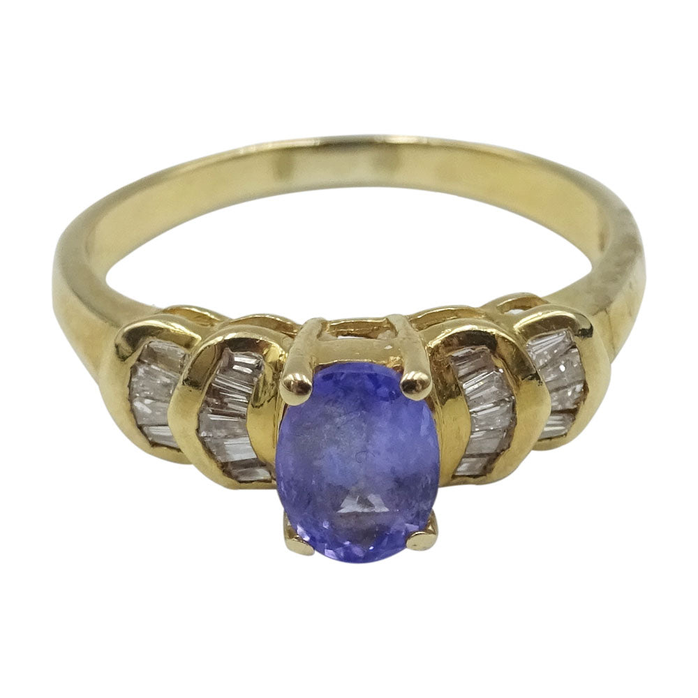 14ct Yellow Gold Ladies Ring Purple Tanzanite & Cubic Zirconia Size Q 1/2 - Richard Miles Jewellers