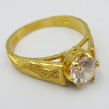 22ct Indian Asian Gold Claw Set Cubic Zirconia Ring Textured Wave Design Size Q - Richard Miles Jewellers