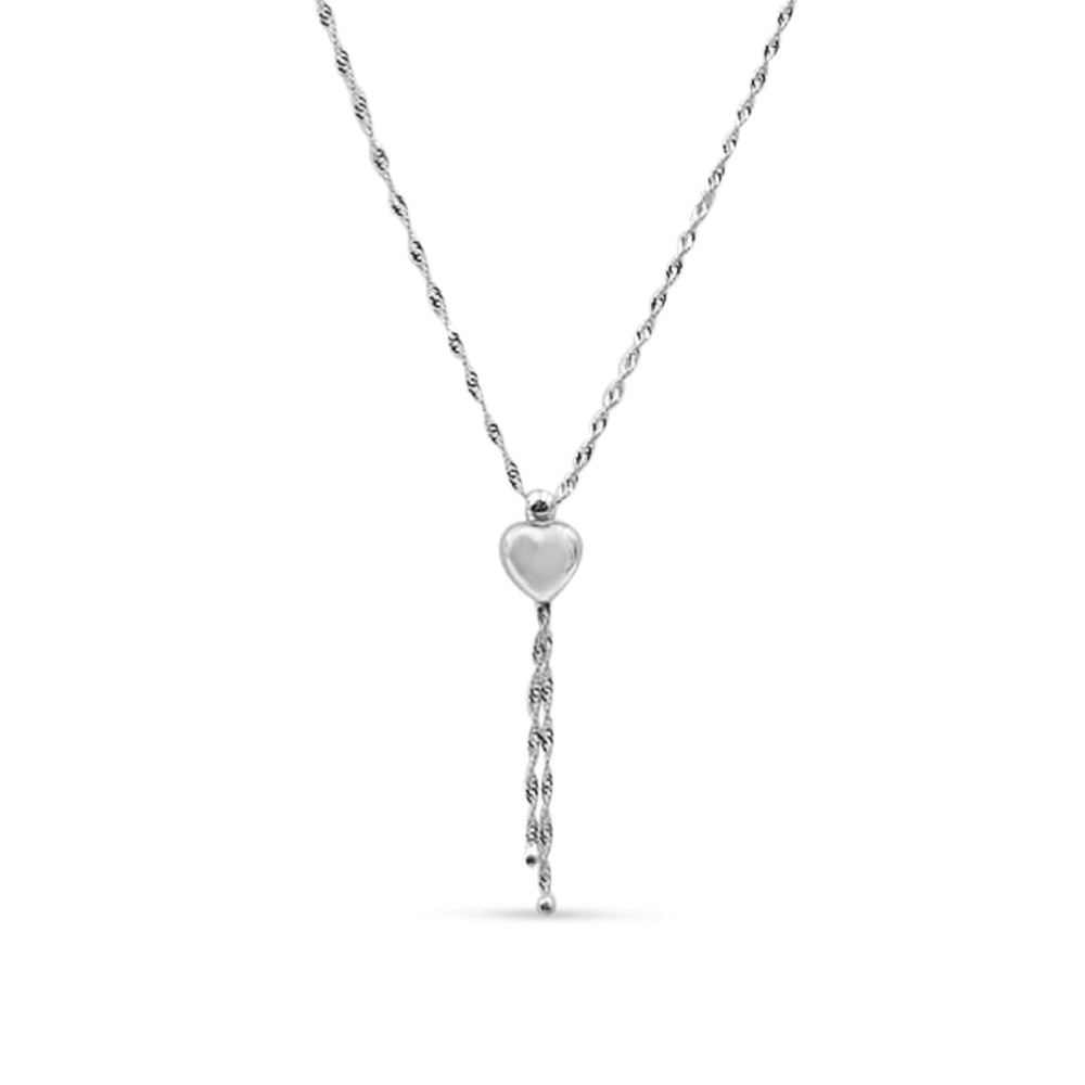 9ct White Gold Necklace And Heart Pendant