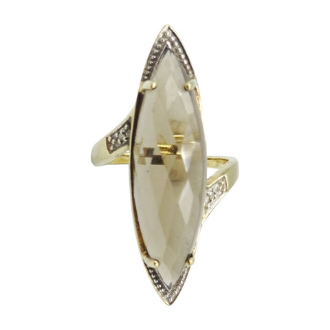 9ct Yellow Gold Large Marquise Smoky Quartz Ring Size R 7.11g - Richard Miles Jewellers