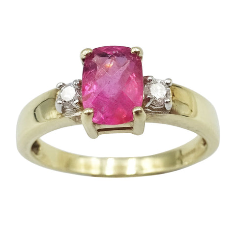 9ct Yellow Gold Pink Oval Cubic Ziconia Ladies Ring Size N 7.2g