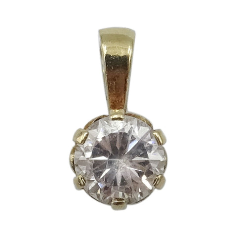 9ct Yellow Gold Ladies Round Claw Set Cubic Zirconia Pendant 5.8mm - Richard Miles Jewellers