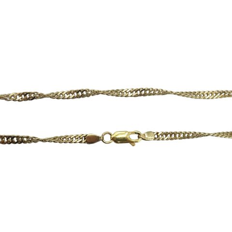 "9ct Yellow Gold Singapore Twisted Chain 20"" 8.4g 3mm - Richard Miles Jewellers"